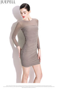 New Women Sexy Package Hip Thin Dresses Tight Folds Gauze Skirt Waist Knit Long-Sleeved Dress Guangzhou Factory OEM pictures & photos