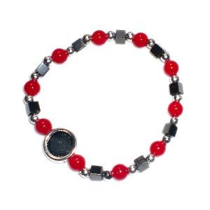 Plastic Religious Rosary Bracelet with Hematite Beads