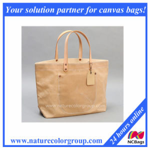 Waxed Canvas Tote Bag/Leather Handle pictures & photos