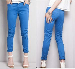 Coloured Denim Blue Chino Trousers Lady Garment (JC1375) pictures & photos
