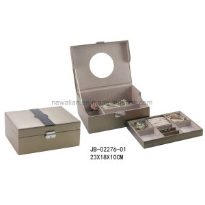 Fashion Design Light Gold Leather Jewelry Storage Box Jewelry Box pictures & photos