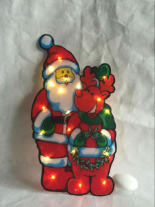 PVC Warm White LED Metallic Santa and Deer Window Light pictures & photos