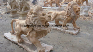 Yellow Marble Sculpture Lion Animal Carving for Garden Decoration pictures & photos