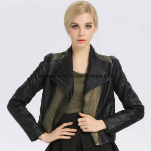 Fashion Women PU Lapel Spliced Jacket Outer Wear Outdoor Coat pictures & photos