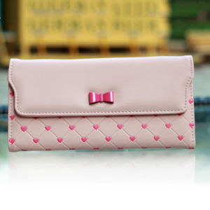 Pink Bow Heart Trifold Women Cartoon Fashion Purse pictures & photos