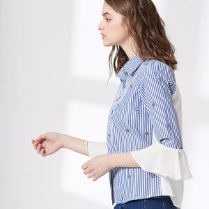 Blue and White Stripe Printed Ruffle Sleeve Women Shir pictures & photos