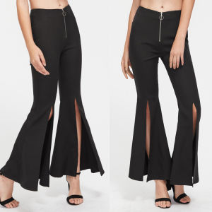 Fashion Women Leisure Casual Front Split Bell-Bottom Pant pictures & photos