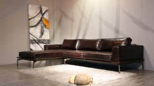 Chinese Style Vintage Leather Sofa Set with Iron Legs (F906)