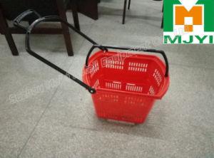 Supermarket Retail Convenient 4 Wheel Plastic Shopping Basket pictures & photos