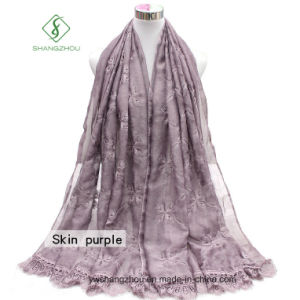 2017 Newest Design Lady Fashion Silk Scarf with Embroider Lace pictures & photos