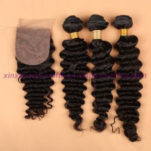 8A Human Hair Weave 3 Bundles Mongolian Deep Wave with Silk Base Closure Virgin Hair with Silk Base Closure pictures & photos