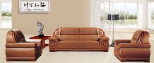Italy Design Classic Wooden Office Furniture Leather Office Sofa (NS-E161) pictures & photos