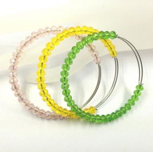 Wholesale Adjustable Crystal Beaded Stainless Steel Bangle Bracelet pictures & photos