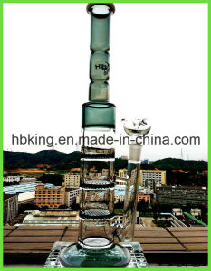 Tube Three Layers Jade Triple Honeycomb Disc Perco Glass Smoking Water Pipe pictures & photos