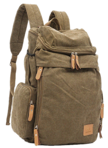 Promotion Mens Canvas and Leather Hiking Travel School Leisure Backpack Bag Yf-Bb1604 pictures & photos