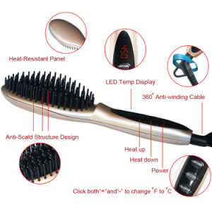 LCD Digital Rose Gold Hair Straightening Brush Hair Straightener Iron pictures & photos