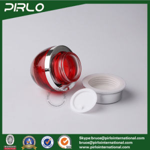 30g 50g Red Color Glass Containers for Creams Cosmetic Packaging Glass Cream Jar with Aluminum Cap pictures & photos