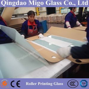 Milky Rectangle Roller Printing Table Tops Glass pictures & photos