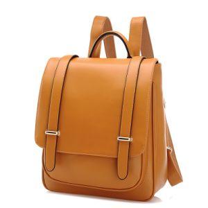 Beige Simple Leather Backpack or Rucksack