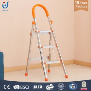 3 Step Multi-Purpose Household Folding Stainless Steel Ladder pictures & photos