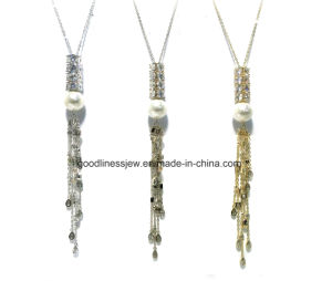 High Quality Long Tassel Necklace Made with AAA Zircon and Synthetic Pearl Rhodium Plated Romantic Pendants Necklaces for Women N6814 pictures & photos