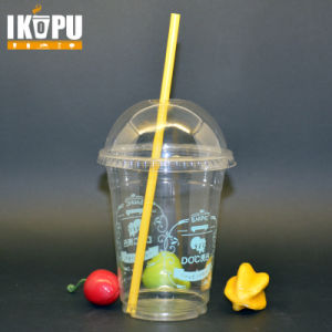 Custom Print Logo 500ml 16oz Disposable Pet Plastic Cup with Dome Lids pictures & photos