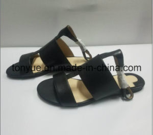 Lady Kid Leather Flat Open Toe Women Sandals pictures & photos