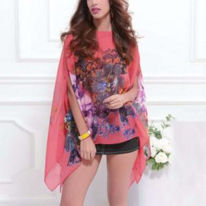 Sexy Batwing Sleeve Chiffon Floral Print Blouse for Women pictures & photos