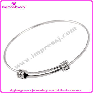 316L Stainless Steel Vintage Enamel Ball Charm Expandable Wire Bangle Adjustable Bracelet (IJB0349) pictures & photos