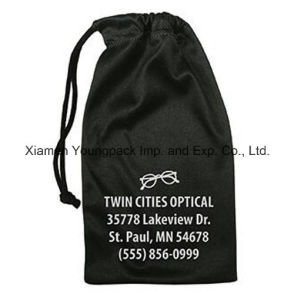 Promotional Custom Printed Soft Black Microfiber Drawstring Bag pictures & photos