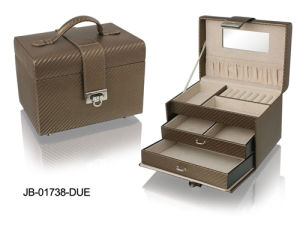 Fashion Design Brown Leather Jewelry Box with 3 Drawers Inside pictures & photos