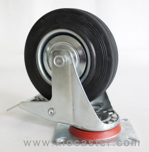 125mm Black Rubber Industrial Caster With Brake With Top Plate