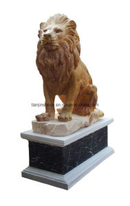 Marble Lion Carving Sculpture on Base (GB045) pictures & photos