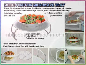 Multifunction Microwave Mate - Spatter Guard, Plate Stacker & Tray (HD0895) pictures & photos