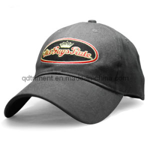 Applique Embroidery Embossed Buckle Cotton Twill Baseball Cap (TRB035) pictures & photos
