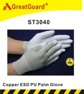Copper Palm PU ESD Glove (ST3040) pictures & photos