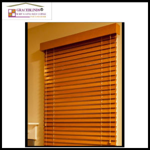 Ladder String Cord Tilt High Profile Metal Headrail 50 Mm Basswood Blinds pictures & photos