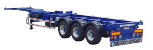 Three Axle Gooseneck Single Tire Skeleton Semi-Trailer with Twist Locks pictures & photos