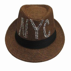 Fashion Straw Fedora Hat with Sequins Logo for Men pictures & photos