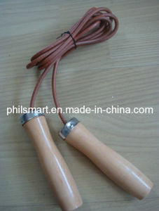 Hotsell Wood Jump Rope with Leather Ropes pictures & photos