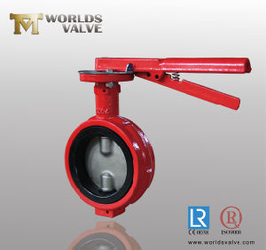 4 Inch Ductile Iron Lever Op Wafer Industrial Butterfly Valve with Double Half Shaft pictures & photos