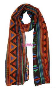 New Design Triangle Checked Women Polyester Printed Voile Scarf
