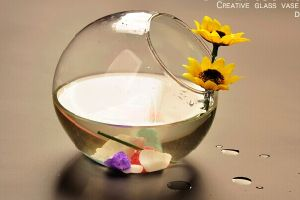 Creative Oblique Opening Transparent Glass Vase, Glass Fish Bowl