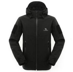 Custom Men′s Waterproof Hooded Softhell Jacket pictures & photos