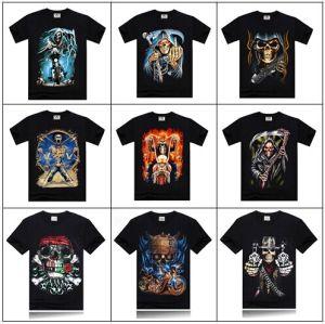 Wholesale Offer Man Spring 2014 Clothing Color Print T Shirt Tee 3D Shirt Man T-Shirts Tshirt Horrible Skull Print Rock T Shirt