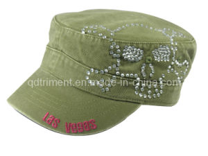 Washed Embroidery Rhinestone Leisure Army Military Cap (TRNMC015) pictures & photos