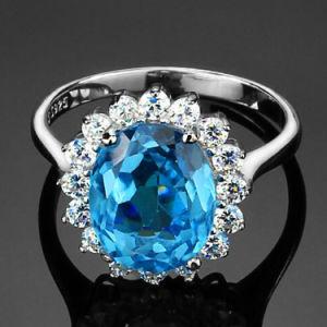 Fashion Blue Sapphire Swiss Blue Gemstone Engagement Ring
