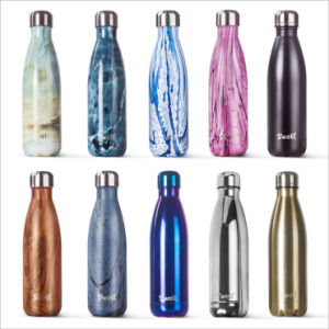 Electroplating Marbling Wood Finished Stainless Steel Swell Cola Water Bottle pictures & photos