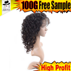 Black Color Brazilian Silk Front Lace Wig pictures & photos