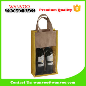 Jute Two Bottle Wine Gift Bag with Clear Window pictures & photos